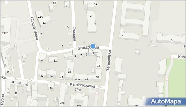Warszawa, Groszowicka, 3, mapa Warszawy