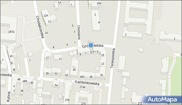 Warszawa, Groszowicka, 5, mapa Warszawy