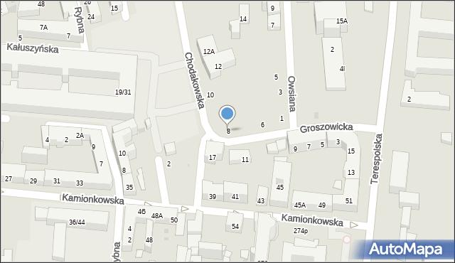 Warszawa, Groszowicka, 8, mapa Warszawy