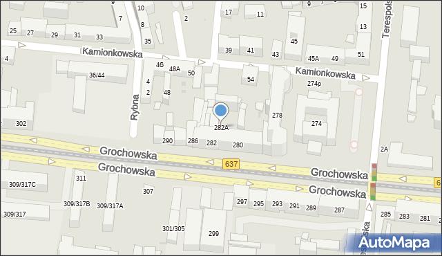 Warszawa, Grochowska, 282A, mapa Warszawy