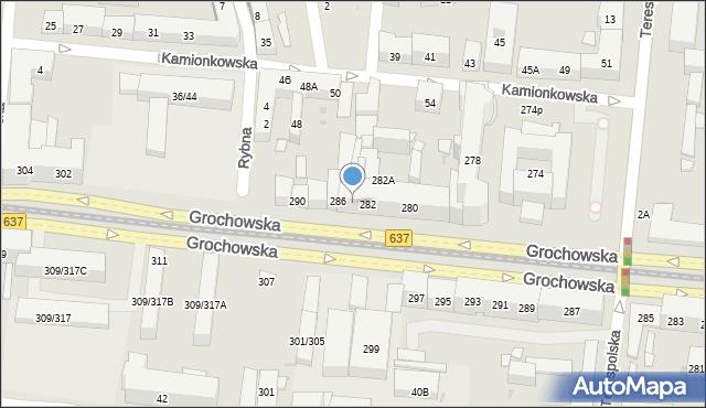 Warszawa, Grochowska, 284, mapa Warszawy
