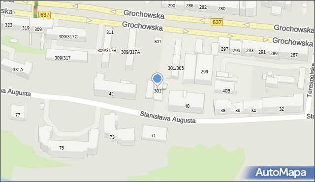 Warszawa, Grochowska, 301, mapa Warszawy