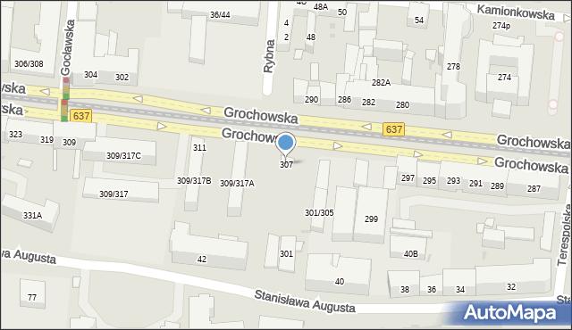 Warszawa, Grochowska, 307, mapa Warszawy