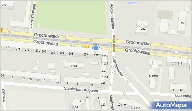 Warszawa, Grochowska, 257, mapa Warszawy