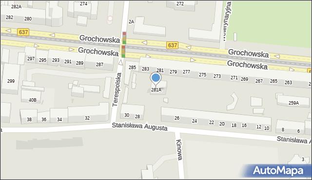 Warszawa, Grochowska, 281A, mapa Warszawy