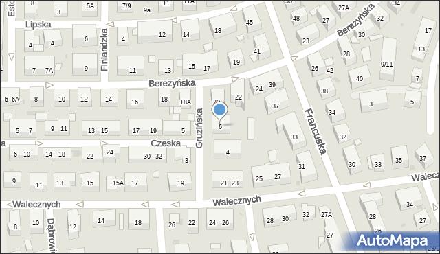 Warszawa, Gruzińska, 6, mapa Warszawy