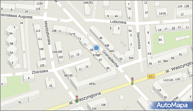 Warszawa, Grenadierów, 67/69, mapa Warszawy