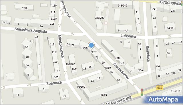 Warszawa, Grenadierów, 73, mapa Warszawy