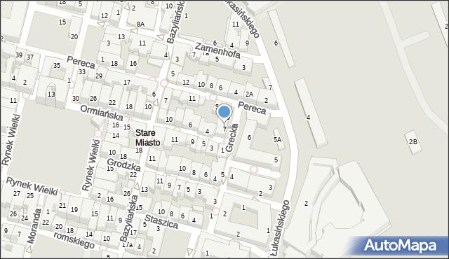 Zamość, Grecka, 7, mapa Zamościa
