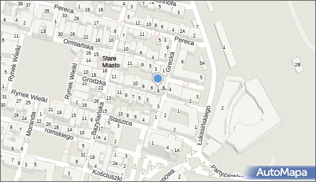 Zamość, Grodzka, 4, mapa Zamościa