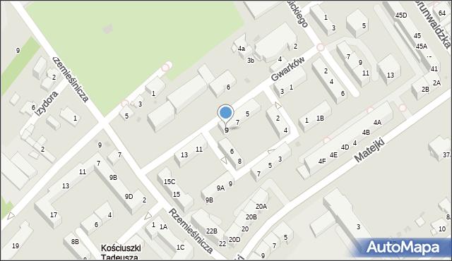 Jaworzno, Gwarków, 9, mapa Jaworzno