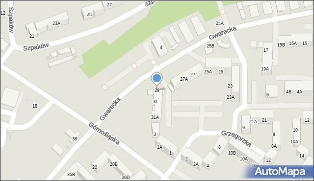 Ruda Śląska, Gwarecka, 29, mapa Rudy Śląskiej