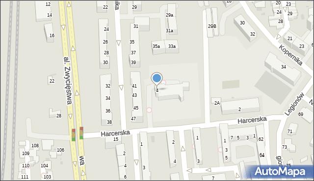 Gdynia, Harcerska, 4, mapa Gdyni