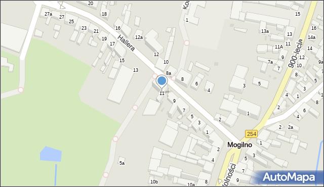 Mogilno, Hallera Józefa, gen., 11, mapa Mogilno