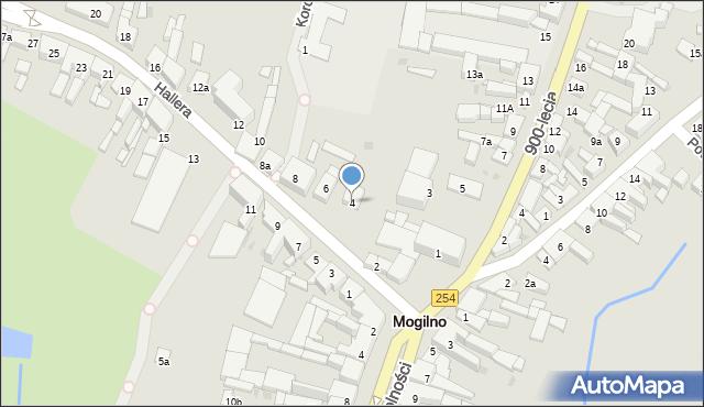 Mogilno, Hallera Józefa, gen., 4, mapa Mogilno