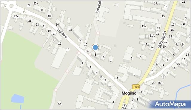 Mogilno, Hallera Józefa, gen., 8, mapa Mogilno