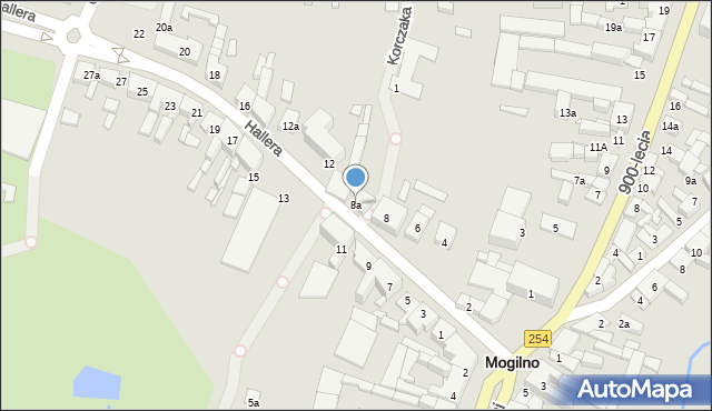 Mogilno, Hallera Józefa, gen., 8a, mapa Mogilno