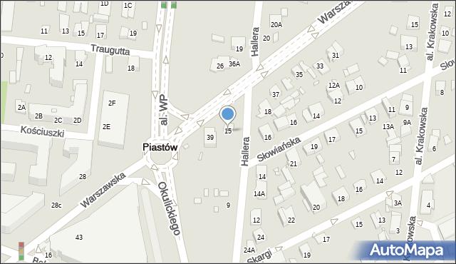 Piastów, Hallera Józefa, gen., 15, mapa Piastów