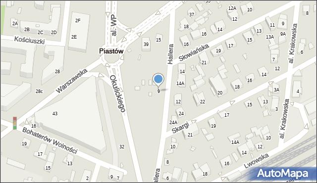 Piastów, Hallera Józefa, gen., 9, mapa Piastów
