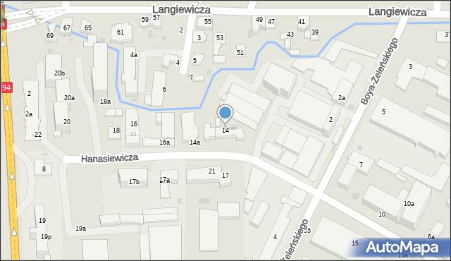 Rzeszów, Hanasiewicza, 14, mapa Rzeszów