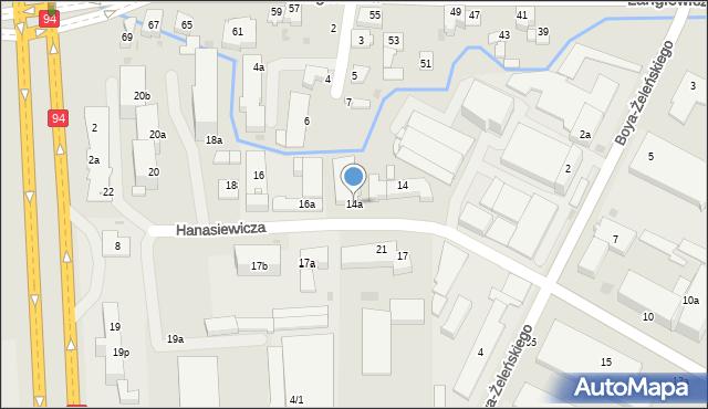Rzeszów, Hanasiewicza, 14a, mapa Rzeszów