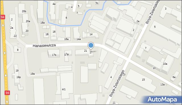 Rzeszów, Hanasiewicza, 17, mapa Rzeszów