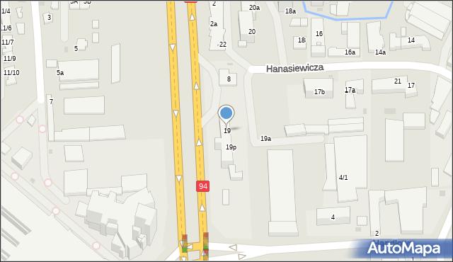 Rzeszów, Hanasiewicza, 19, mapa Rzeszów