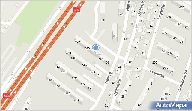 Sosnowiec, Hallera Józefa, gen., 66B, mapa Sosnowca
