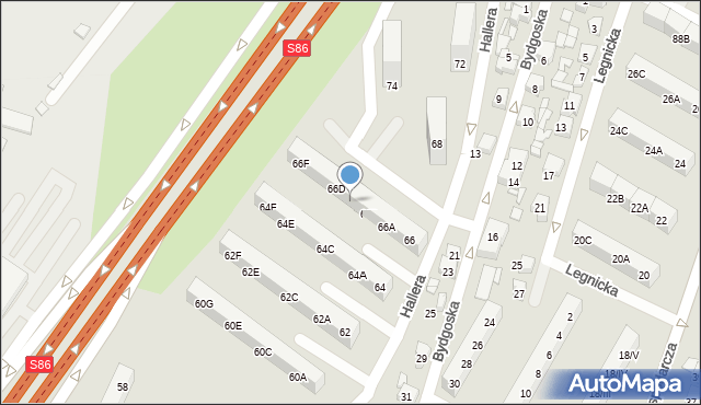Sosnowiec, Hallera Józefa, gen., 66C, mapa Sosnowca
