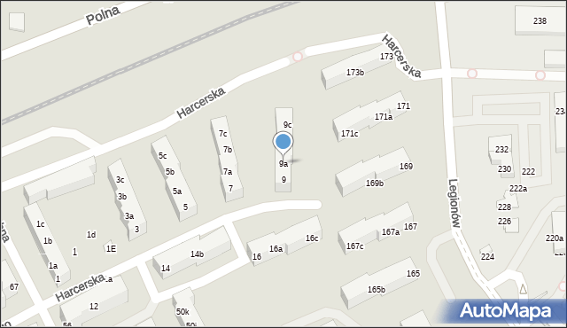 Toruń, Harcerska, 9a, mapa Torunia