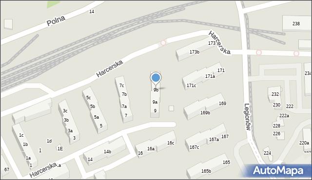 Toruń, Harcerska, 9b, mapa Torunia