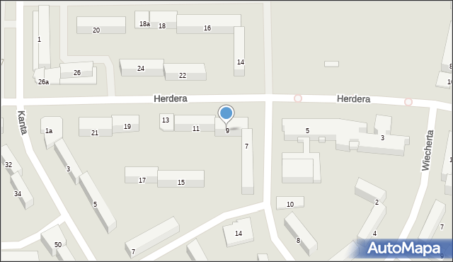 Olsztyn, Herdera Johanna Gottfrieda, 9, mapa Olsztyna