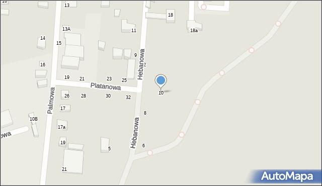 Toruń, Hebanowa, 10, mapa Torunia