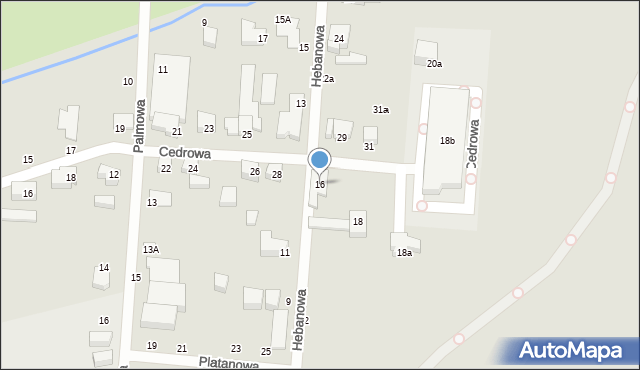 Toruń, Hebanowa, 16, mapa Torunia