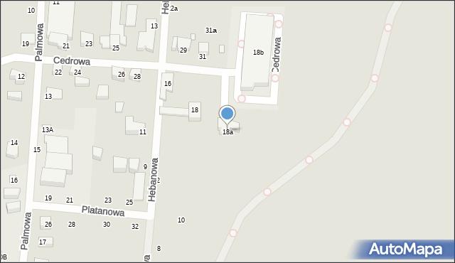 Toruń, Hebanowa, 18a, mapa Torunia