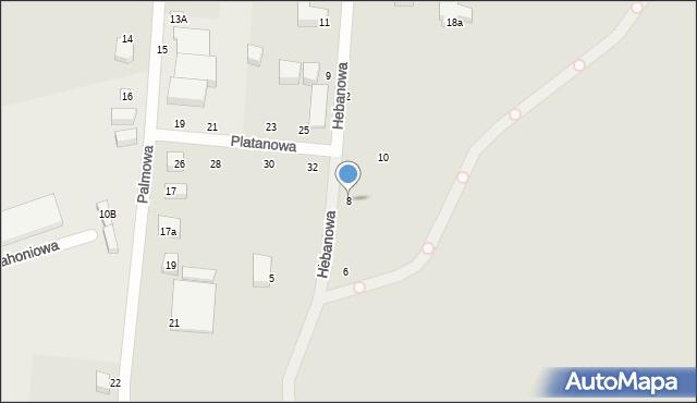 Toruń, Hebanowa, 8, mapa Torunia