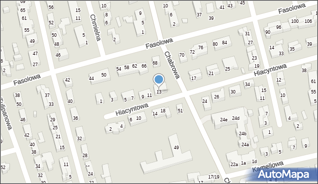 Toruń, Hiacyntowa, 13, mapa Torunia