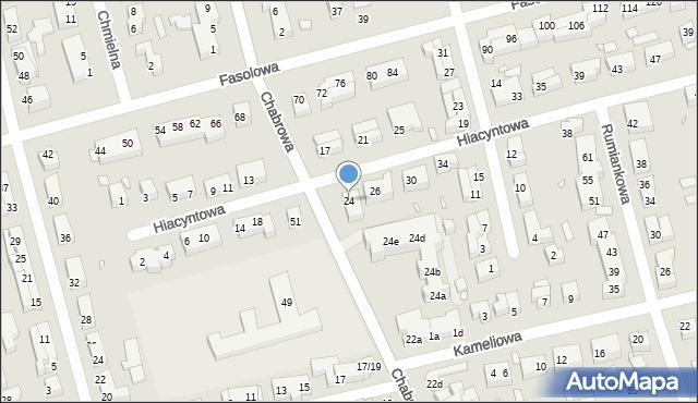 Toruń, Hiacyntowa, 24, mapa Torunia