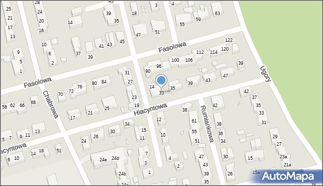 Toruń, Hiacyntowa, 33, mapa Torunia