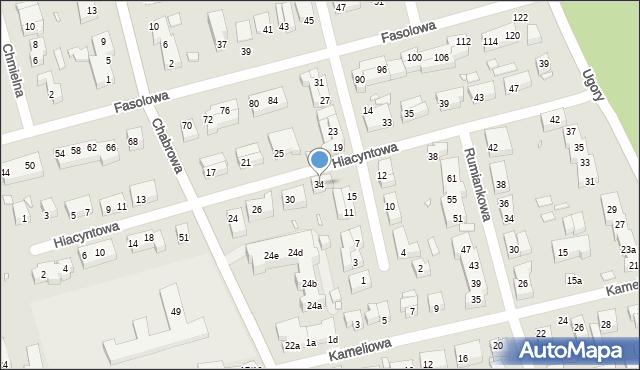 Toruń, Hiacyntowa, 34, mapa Torunia