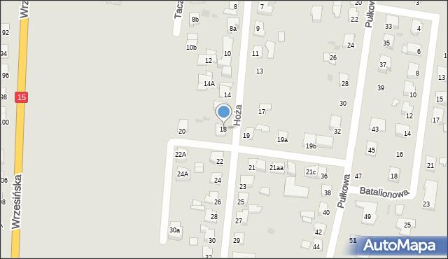 Gniezno, Hoża, 18, mapa Gniezna