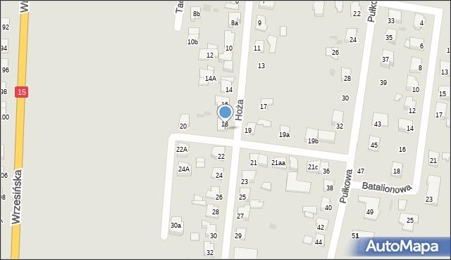 Gniezno, Hoża, 18A, mapa Gniezna