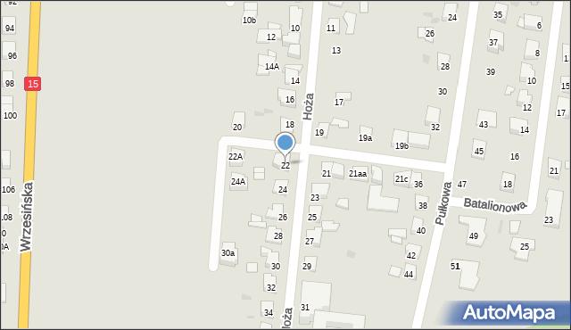 Gniezno, Hoża, 22, mapa Gniezna