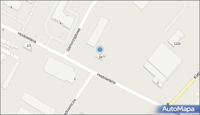 Radom, Hodowlana, 2A, mapa Radomia
