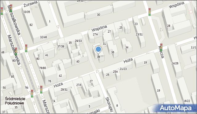 Warszawa, Hoża, 38, mapa Warszawy