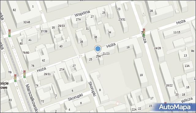 Warszawa, Hoża, 25A, mapa Warszawy