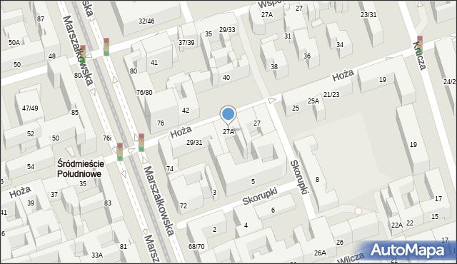 Warszawa, Hoża, 27A, mapa Warszawy