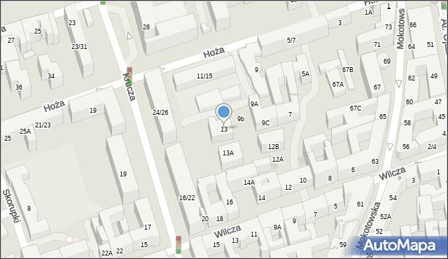 Warszawa, Hoża, 13, mapa Warszawy