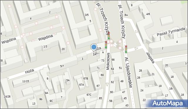 Warszawa, Hoża, 1A, mapa Warszawy