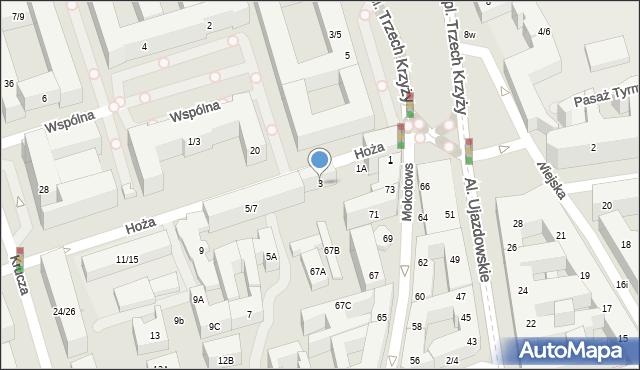 Warszawa, Hoża, 3, mapa Warszawy